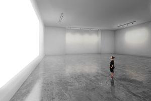 Woman looking at blank screen