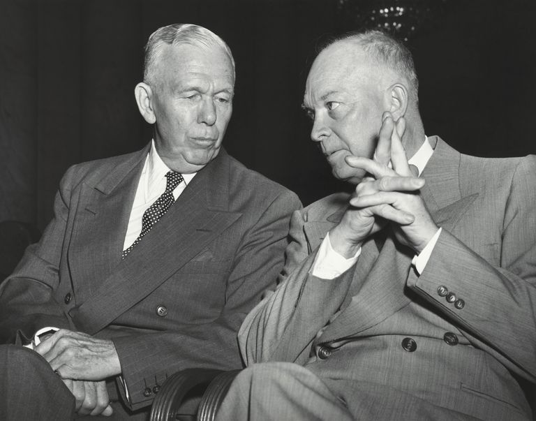 George C. Marshall and Dwight Eisenhower Conversing