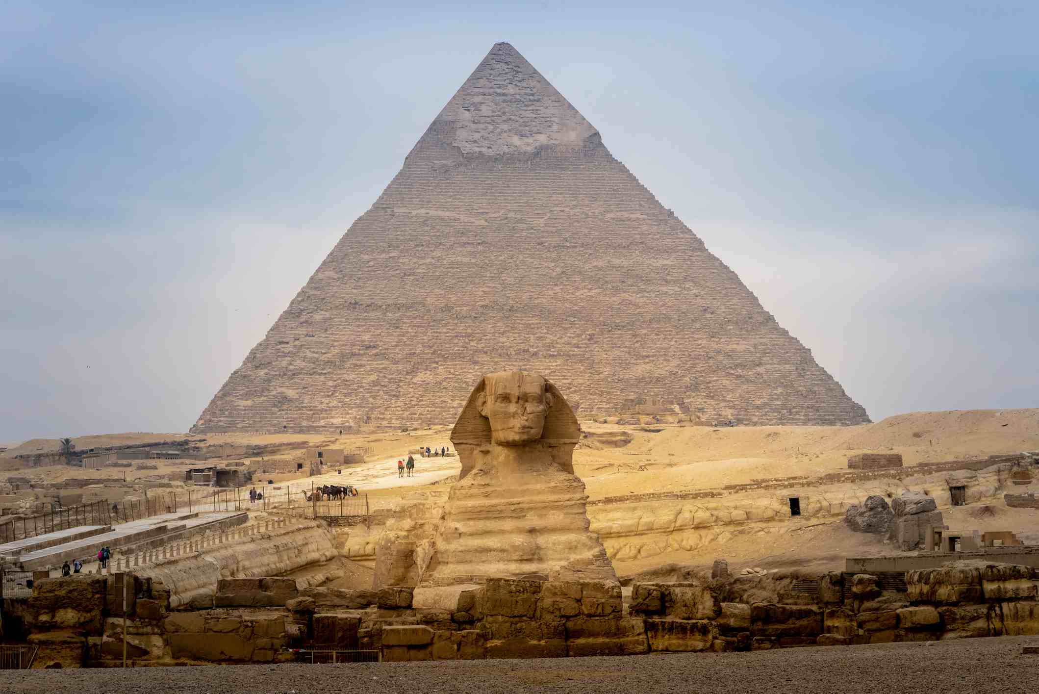Great Sphinx in front of Pyramid of Giza in Egypt