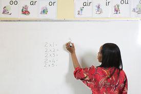 A primary school teacher in the classroom