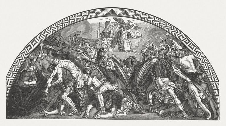 Illustration of Patroclus and Ajax killing Euphorbus scene from Homer's Iliad
