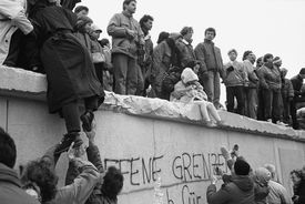 East Berliners on top of the Berlin Wall, 1989