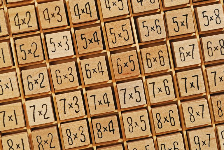 Wooden blocks forming multiplication tables