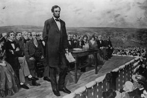 Artist rendition of Lincoln giving the Gettysburg Address.
