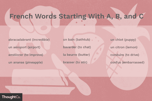 French words starting with A, B, and C