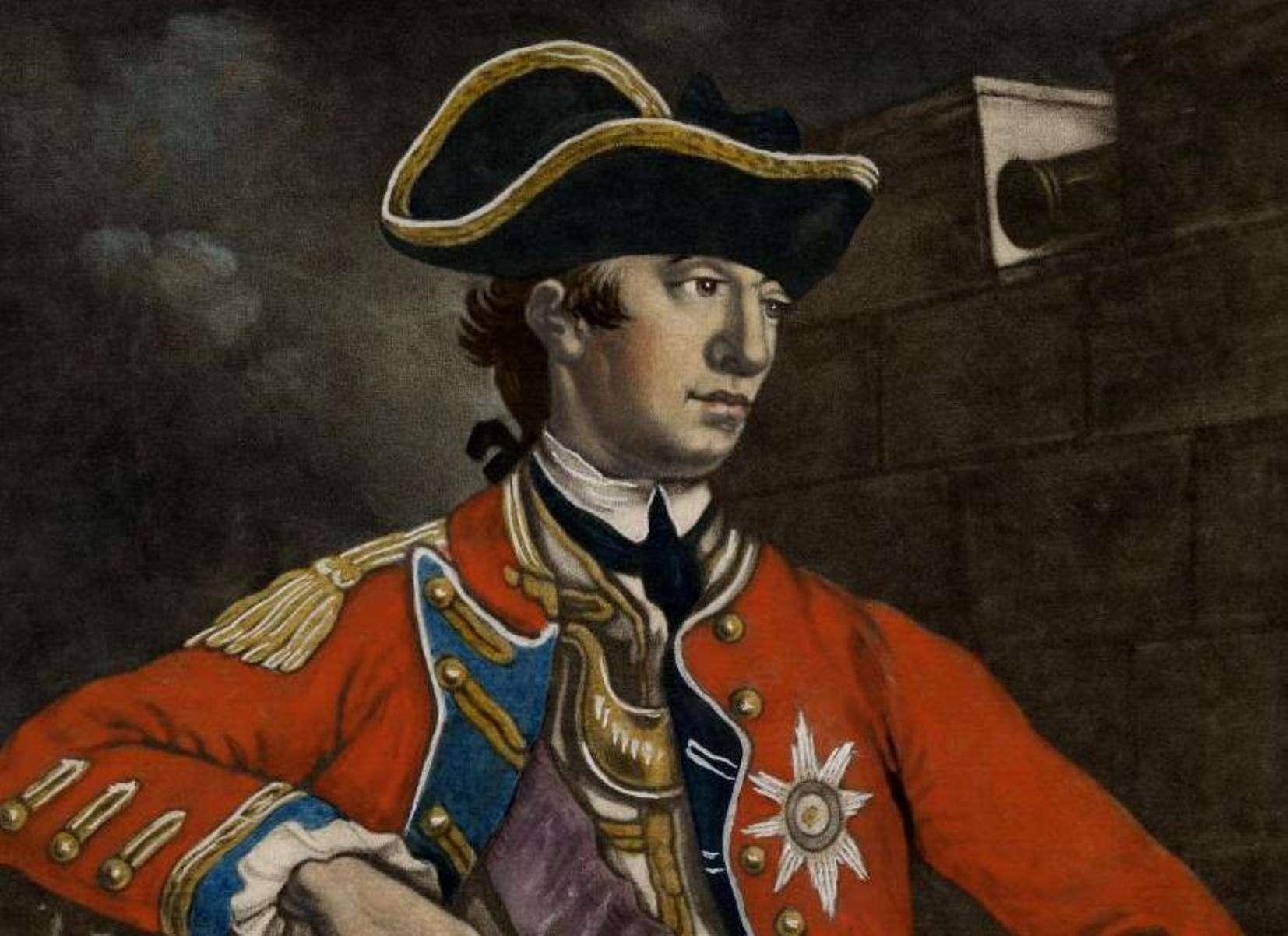 General William Howe in a red British Army uniform.
