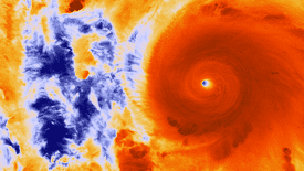 Infrared image of Hurricane Patricia