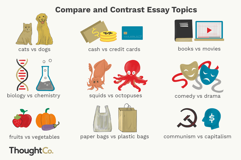 Illustrated depiction of 9 compare and contrast essay topics