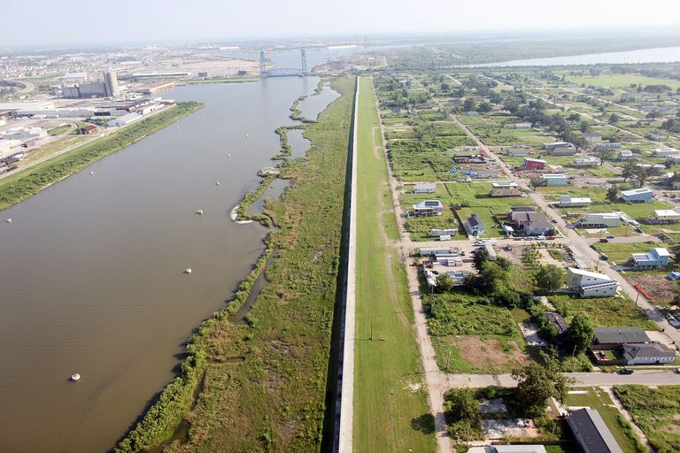 Overhead photo of repaired levee wall after the flooding from Hurricane Katrina
