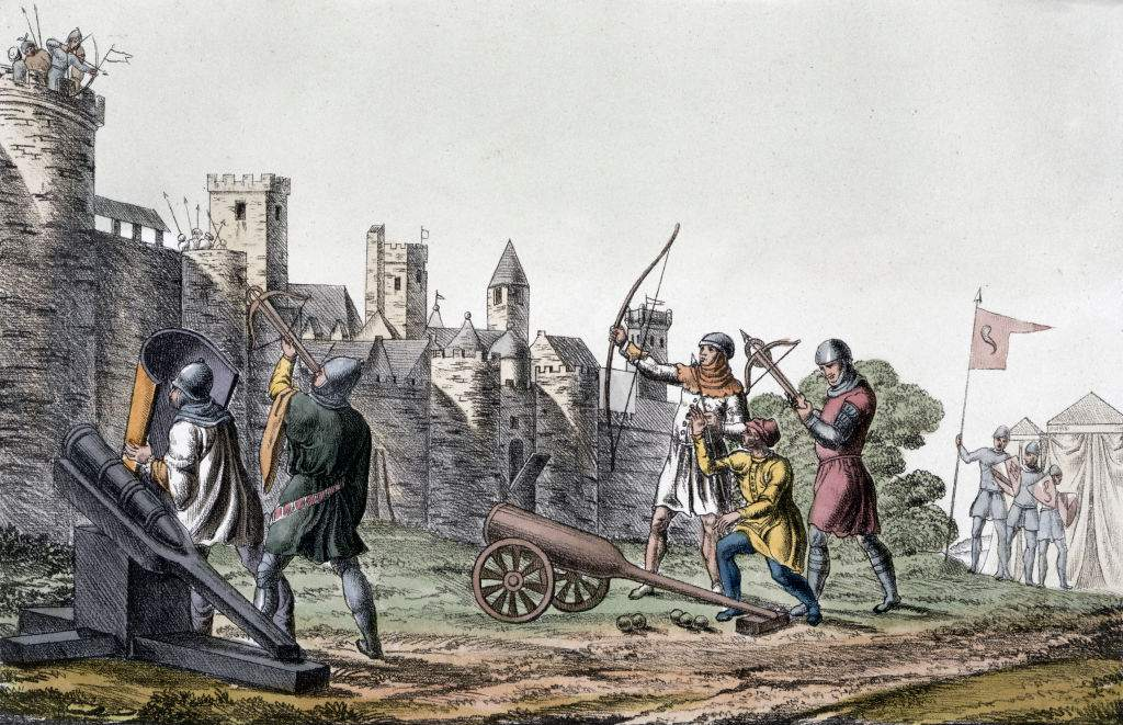 Illustrations of medieval archers shooting at castle