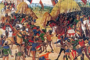 Battle of Crécy from a Manuscript of Froissart's Chronicles