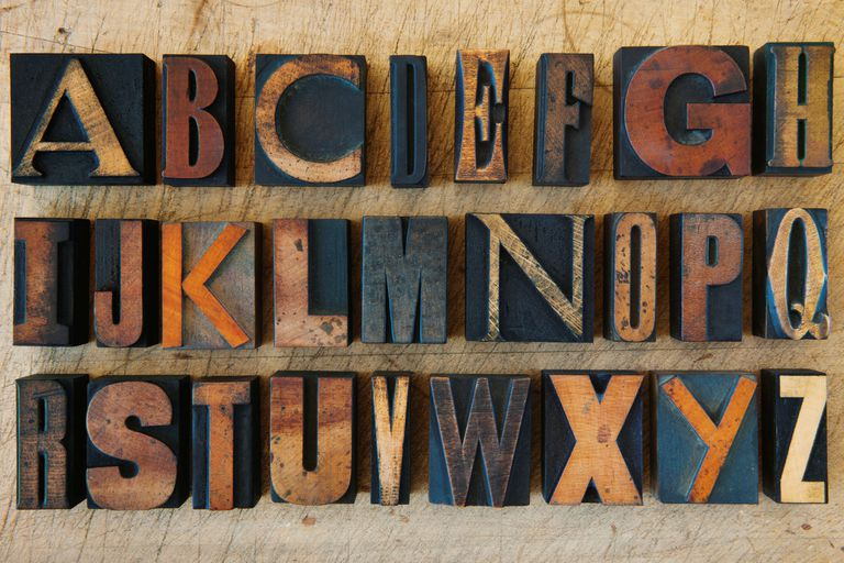 alphabet on letterpress