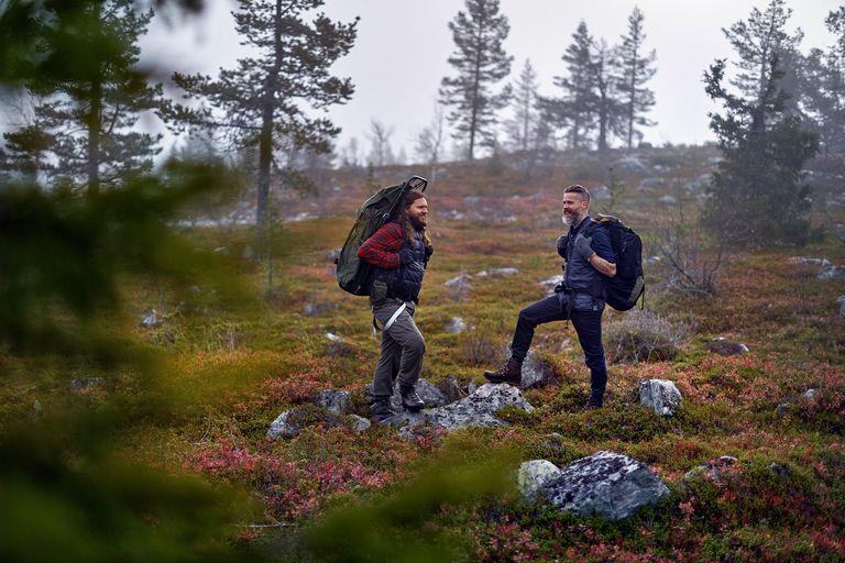 Hikers talking in park Laplund, Finland
