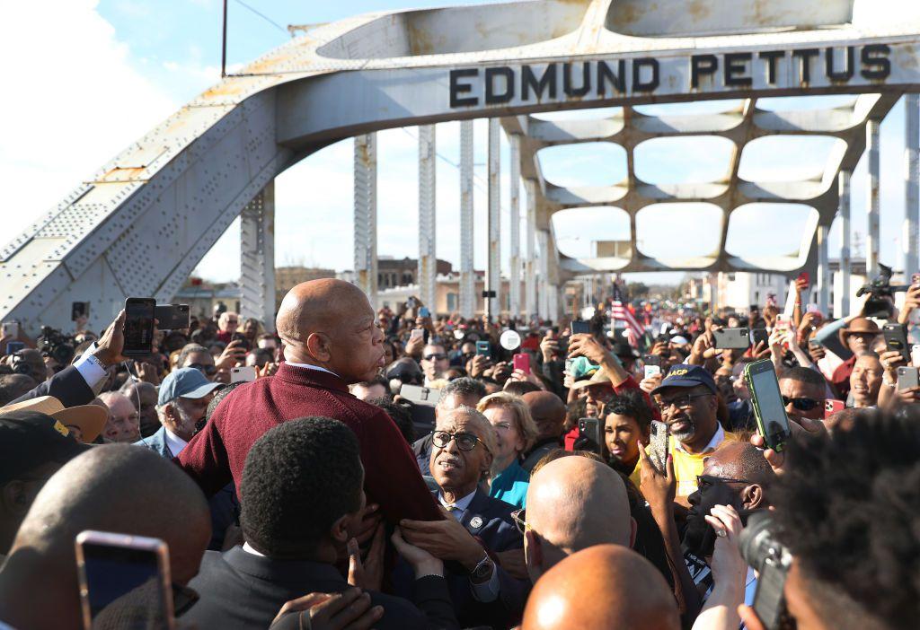 Rep. John Lewis (D-GA) speaks to the crowd at the Edmund Pettus Bridge crossing reenactment marking 55th anniversary of Selma's Bloody Sunday on March 1, 2020 in Selma, Alabama.
