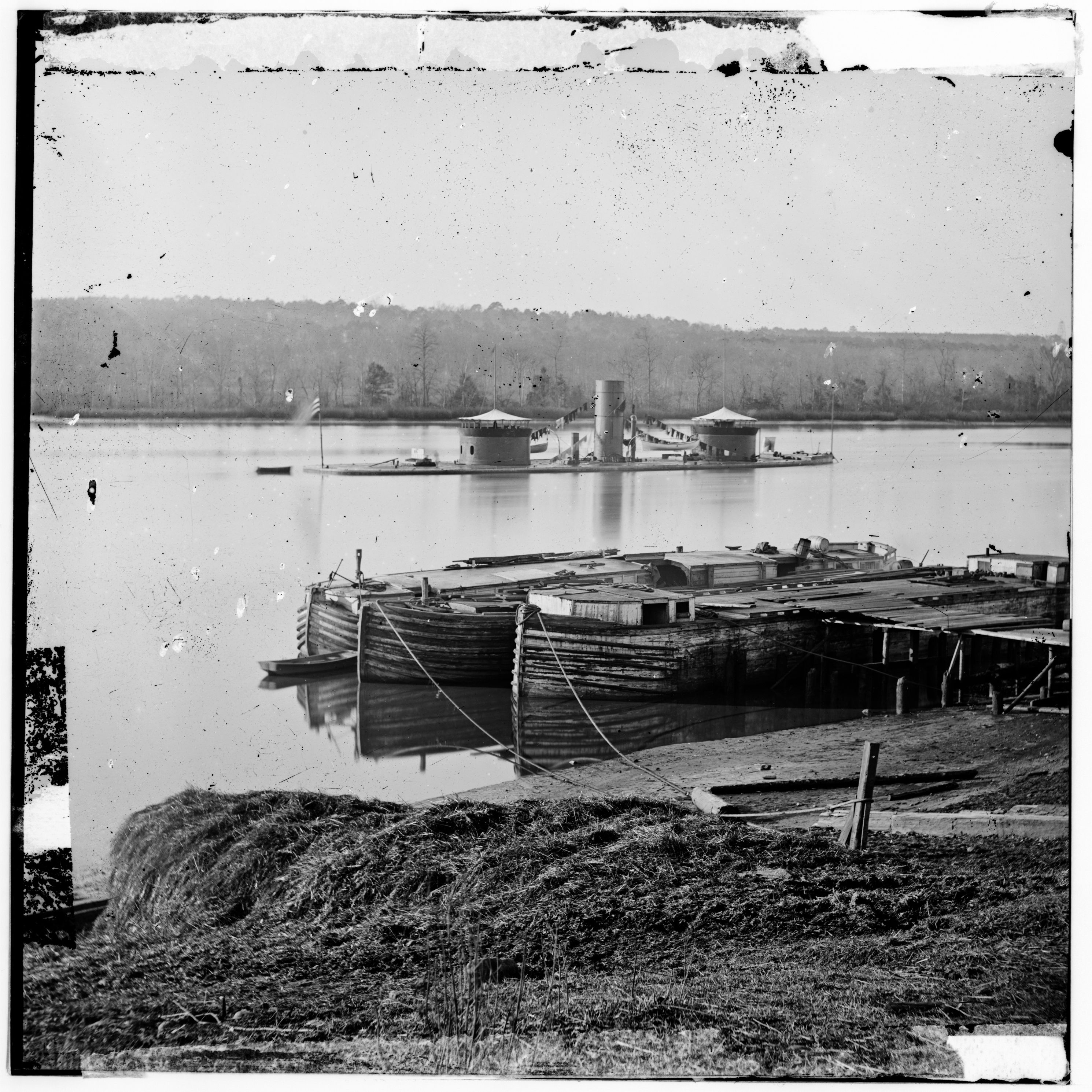 The U.S.S. Onondaga, a Monitor built in 1864 with two turrets.