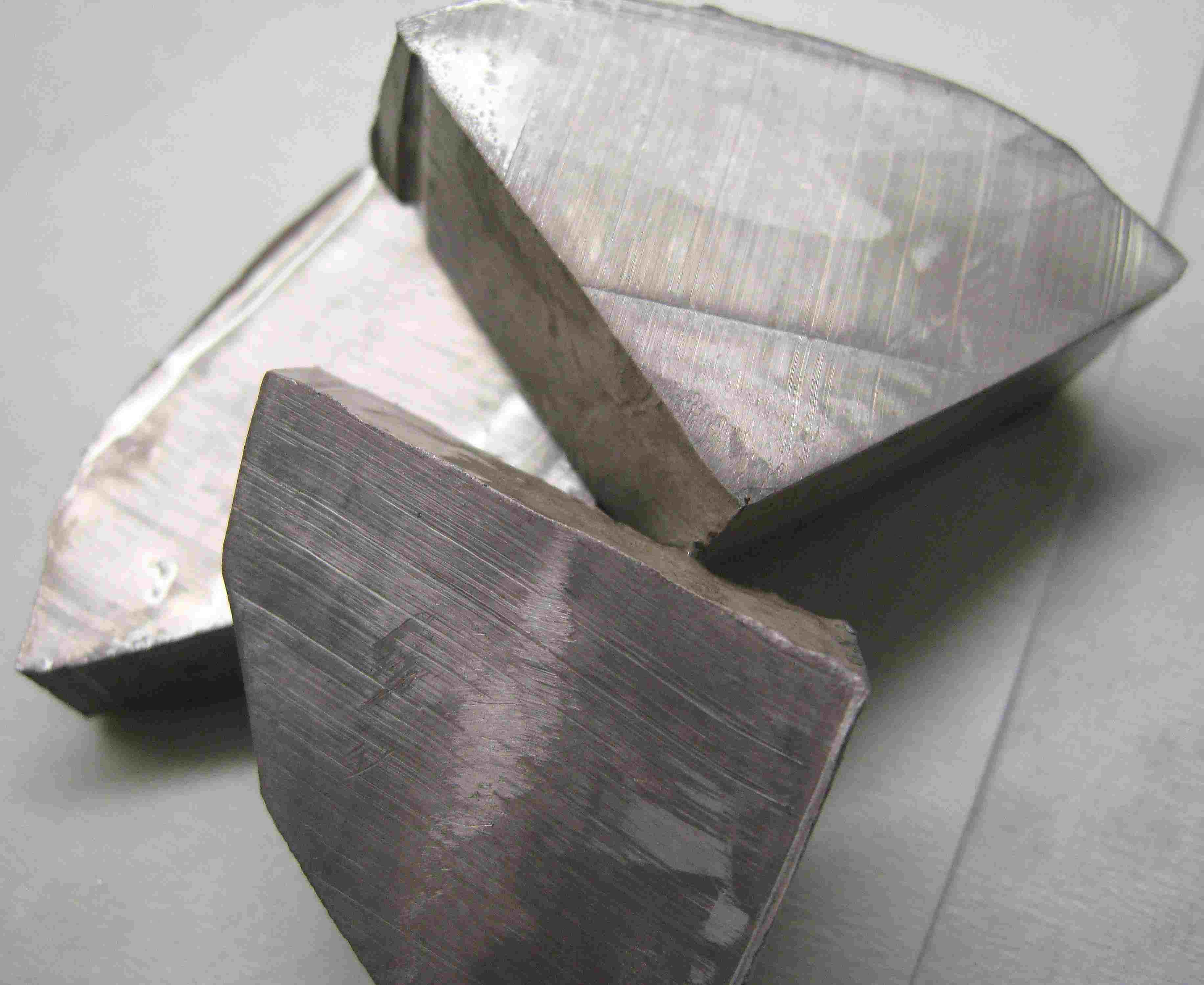 Close up of chunks of Sodium.