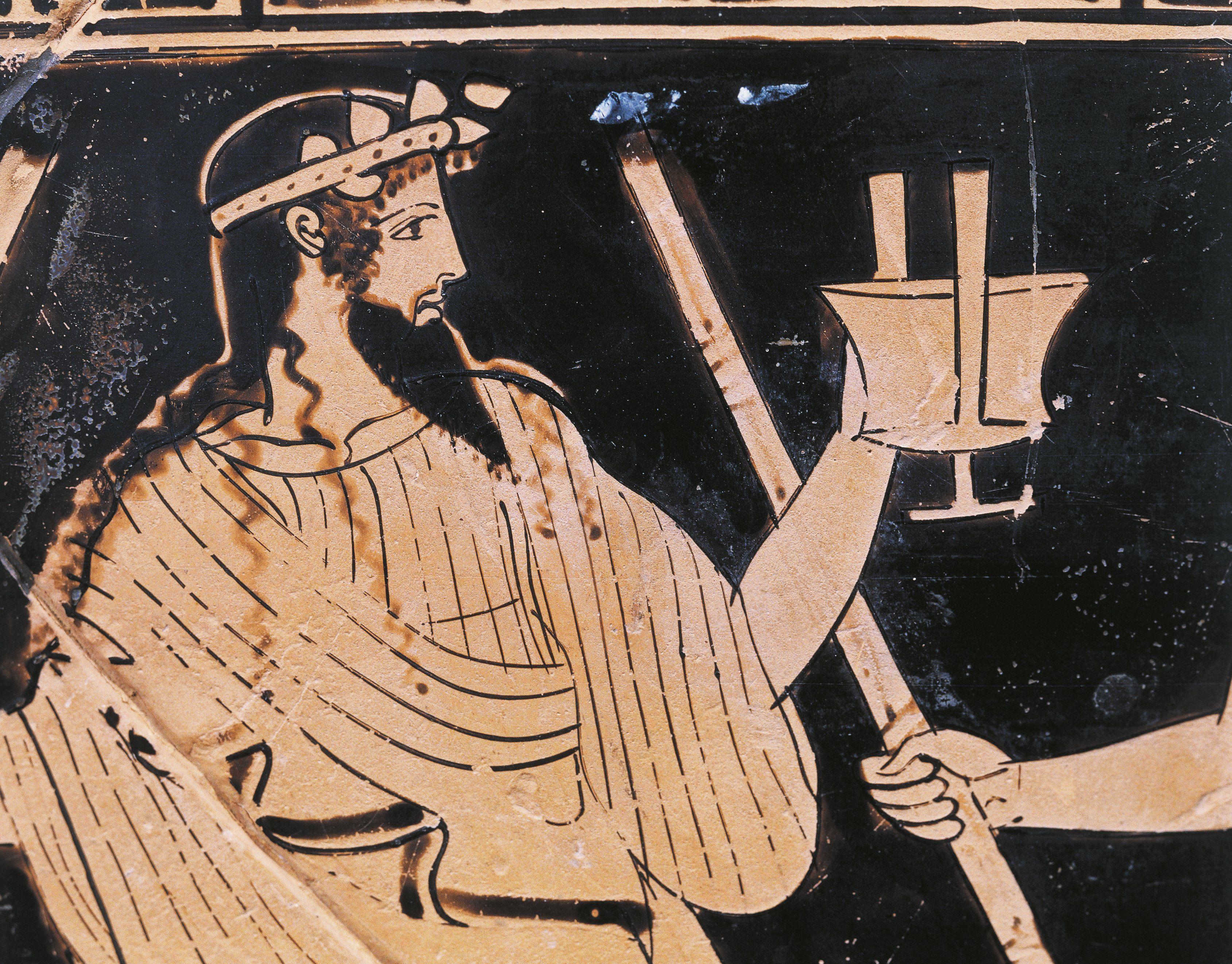 Nahaufnahme von Dionysos auf einer Urne