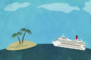 Cruise ship and desert island illustration