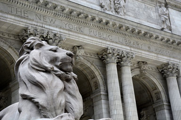 Marble lion in front of the Main Branch of the New York Public Library, 1911, Beaux-Arts Architecture