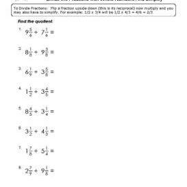 Division Of Fractions With Mixed Number Workheets Divide The Fractions With Mixed Numbers Worksheets Pdf Below