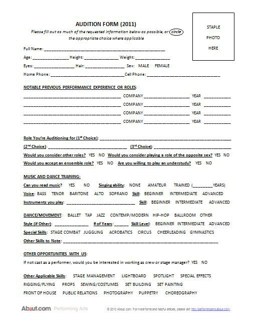 theatre audition form template A Helpful Form to Use When Holding Auditions