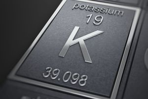 Close up of Potassium 19 K 39.098 on the periodic table