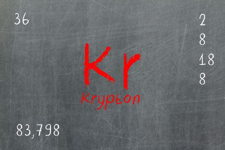 Krypton on chalkboard