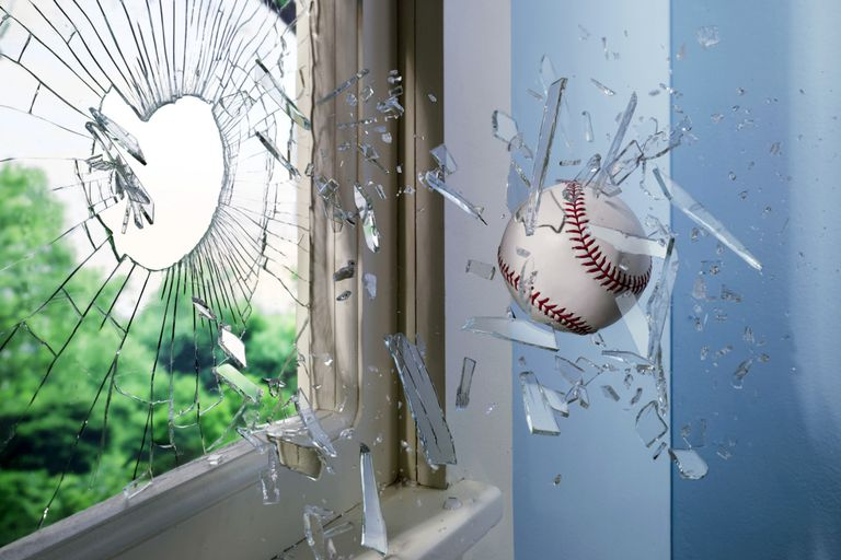 ball thrown through window