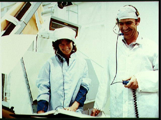 Astronauts Sally Ride and John Fabian participate in pre-mission crew mission tests.