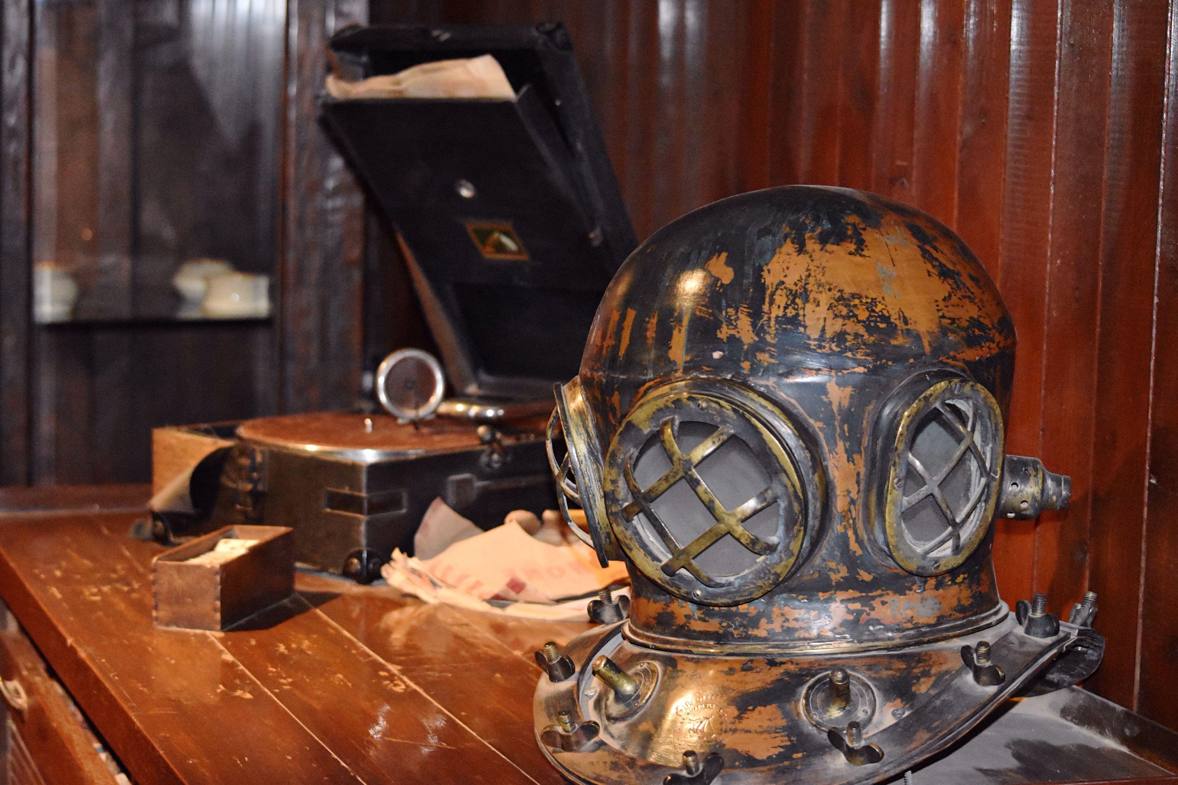 Diving helmets on desk