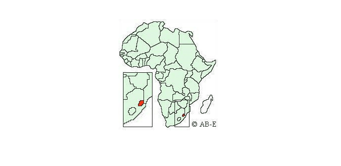 Swaziland on map of Africa
