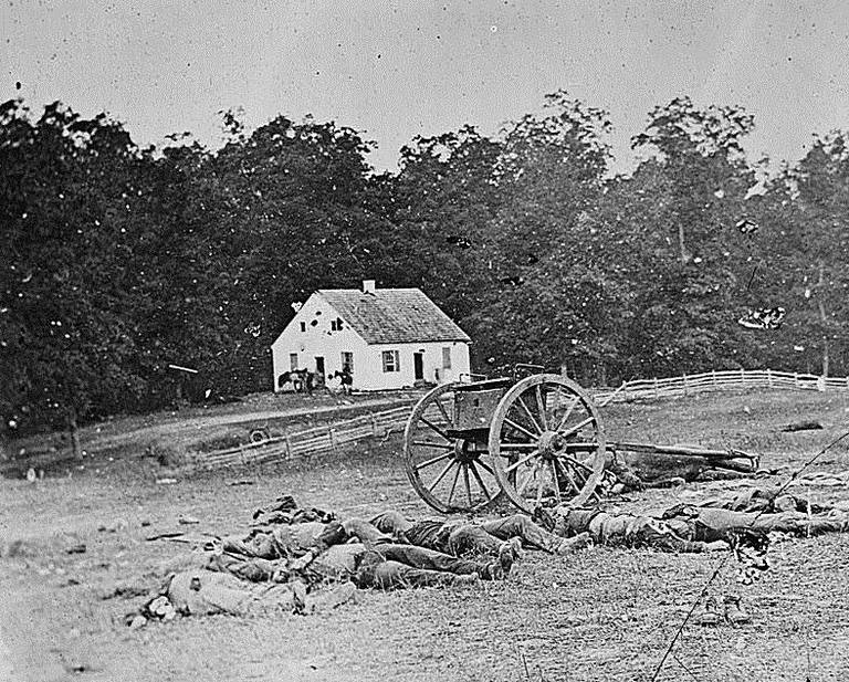 Dead Confederate soldiers near the Dunker Church at Antietam