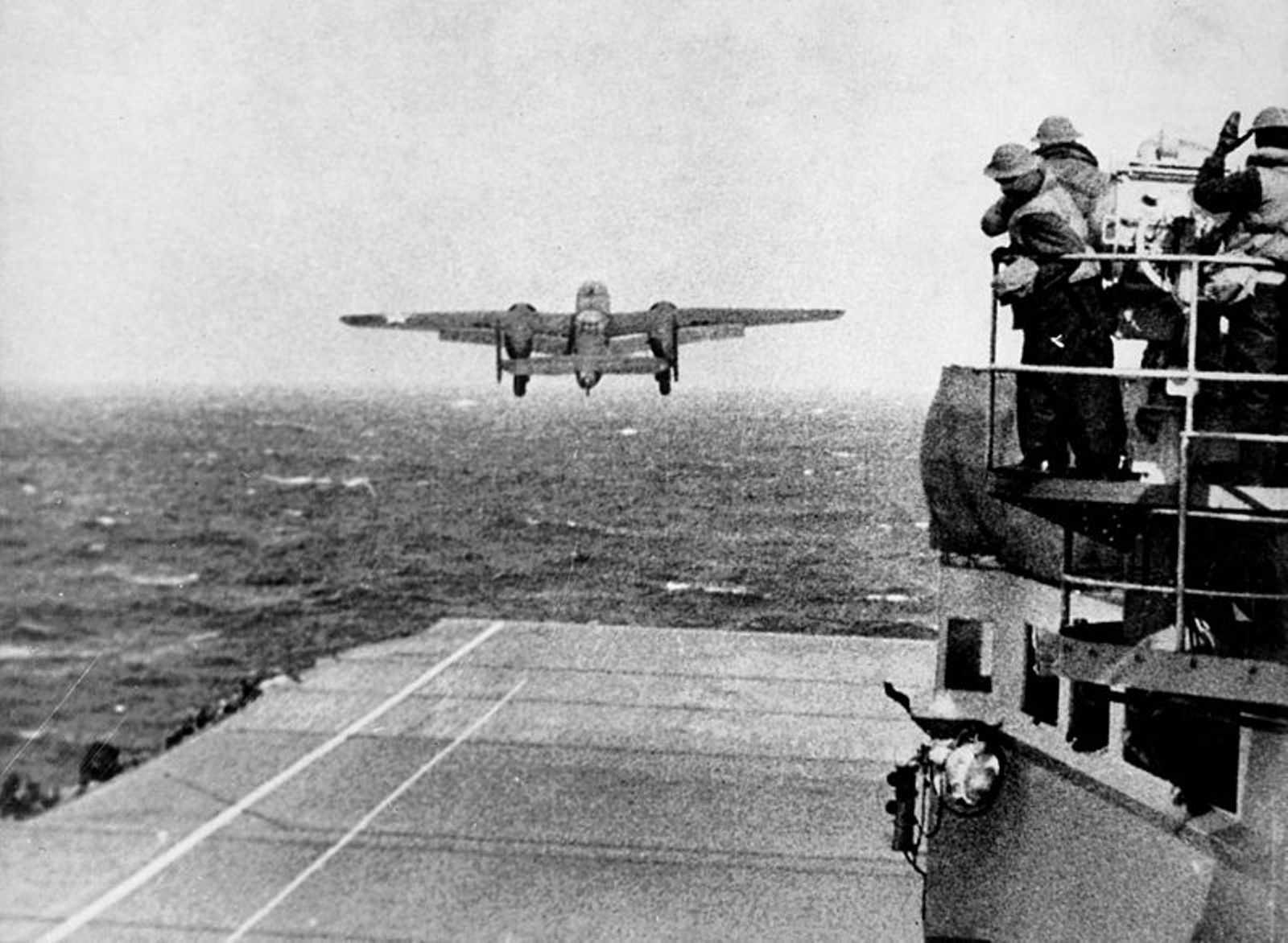 B-25 Mitchell takes off from USS Hornet, 1942.