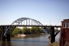 The Edmund Pettus Bridge in Selma, Alabama, a mile from Selma University