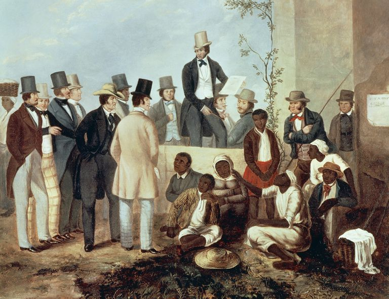 American gathered around a slave market, 1852