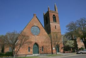 Front of church building.