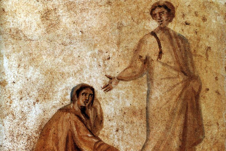The Heeling of a bleeding women, Rom, Catacombs of Marcellinus and Peter.