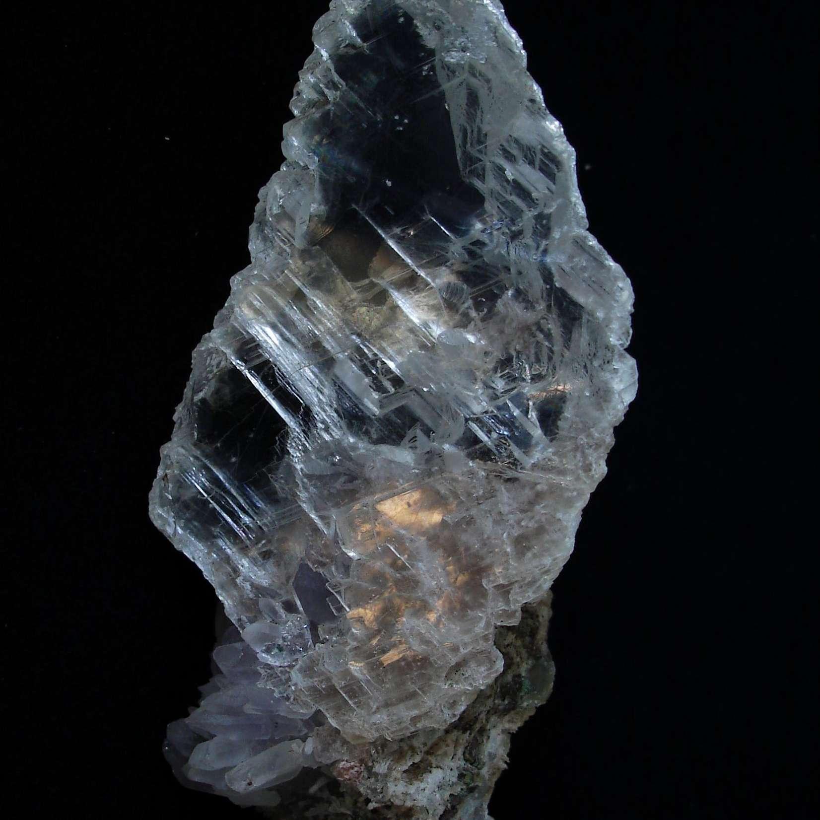 Clear selenite gypsum on a black background.