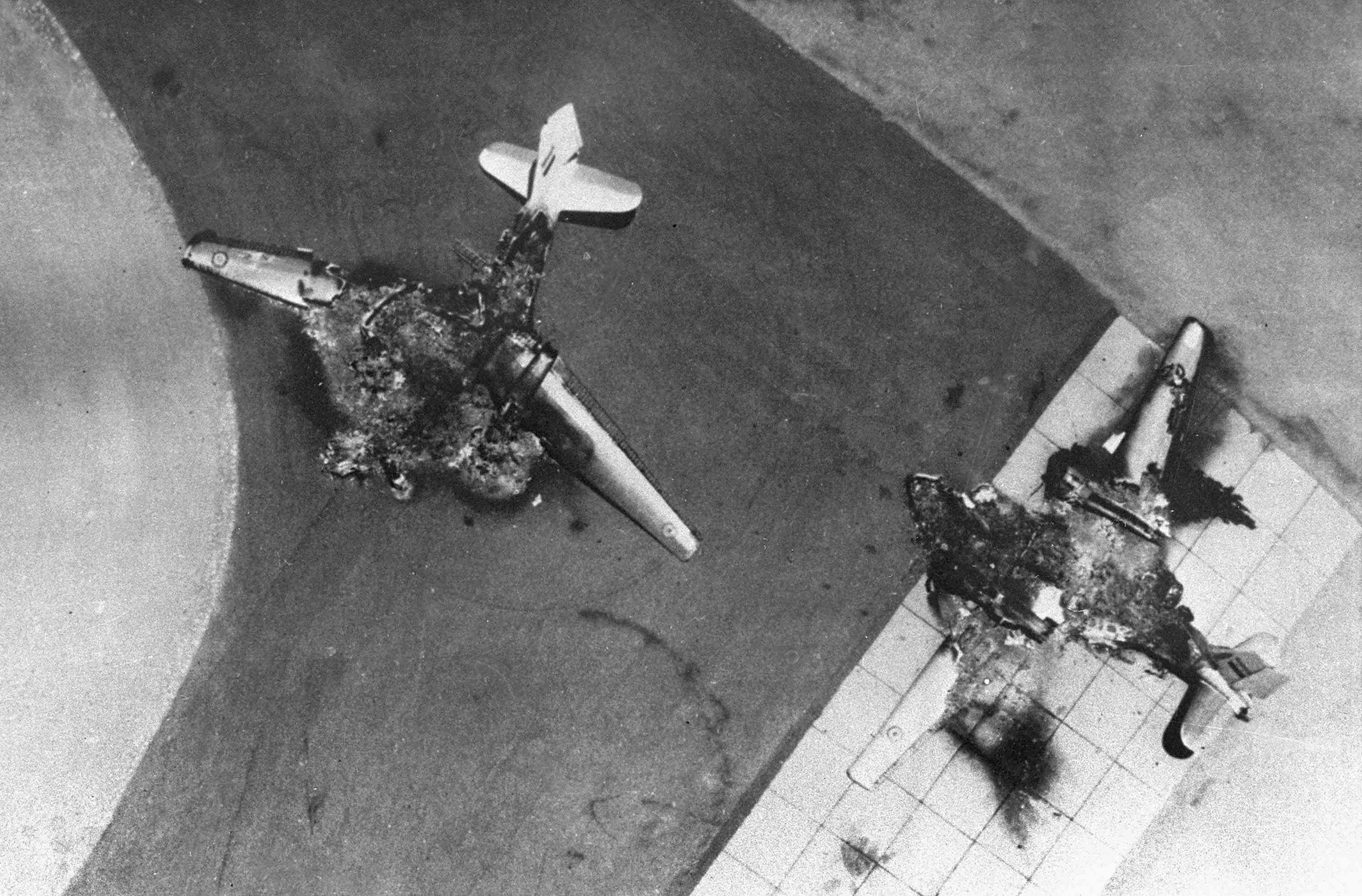 Egyptian jets destroyed on their runways in the Six-Day War.