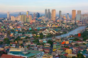 Downtown skyline along Manila Bay.