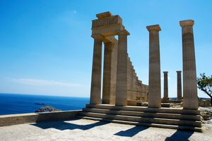 Stoa of Temple of Athena Lindia, at Lindos on the Island of Rhodes, Greece, built circa 300 BC