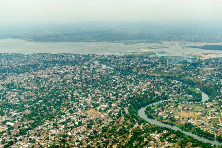Aerial view of Brazzaville, Kinshasa, and the Congo River