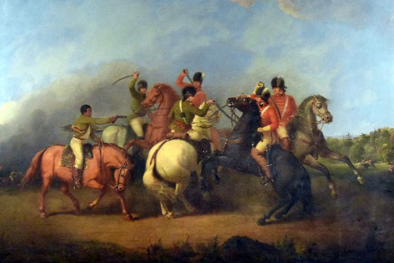 Cavalry fight at the Battle of Cowpens depicting a​ black soldier firing his pistol to save William Washington on January 17, 1781