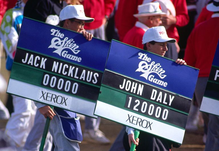 Skins Game signage for Jack Nicklaus and John Daly
