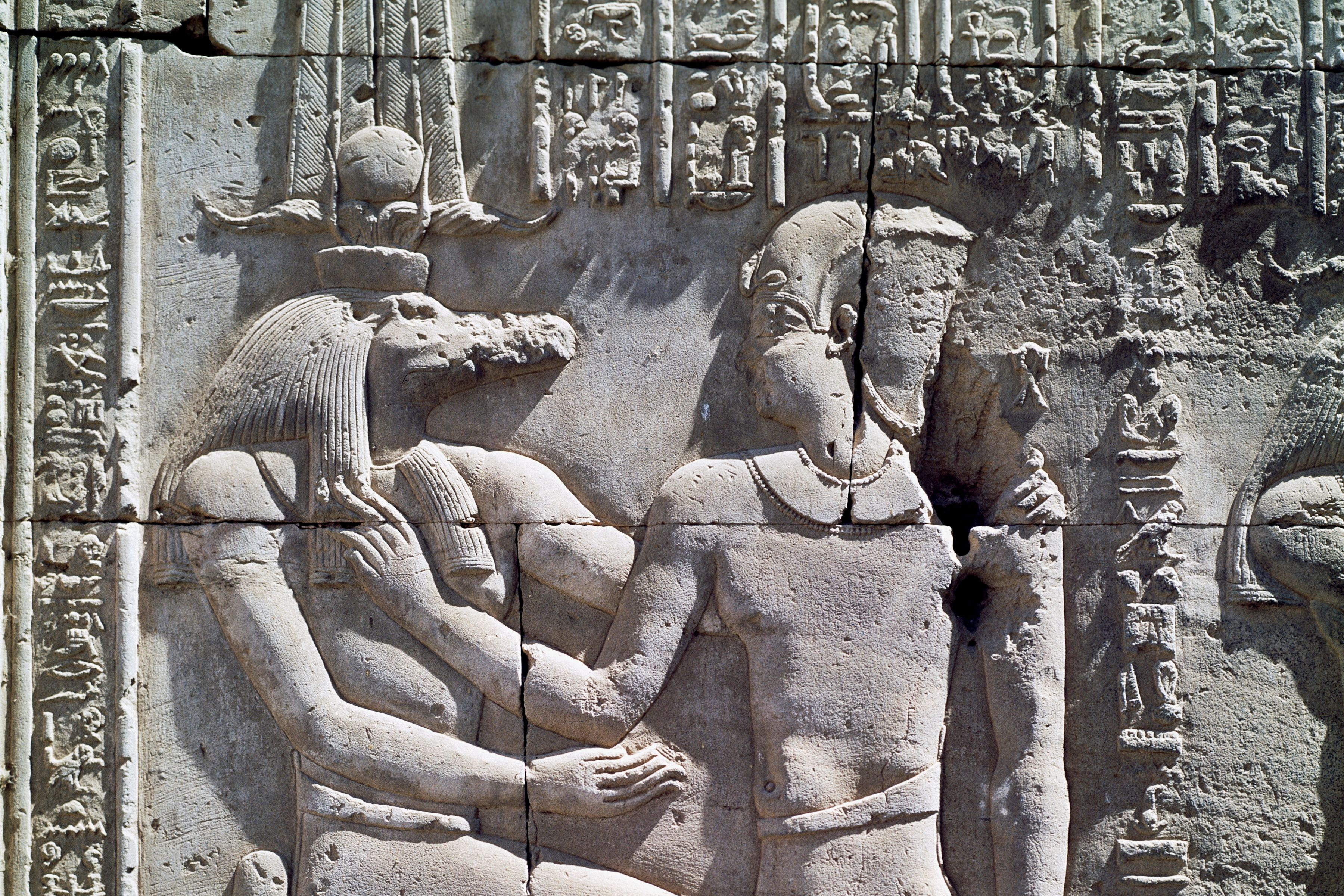 Crocodile-god Sobek and King Ptolemy VI Philometor, bas-relief from Temple of Sobek and Haroeris