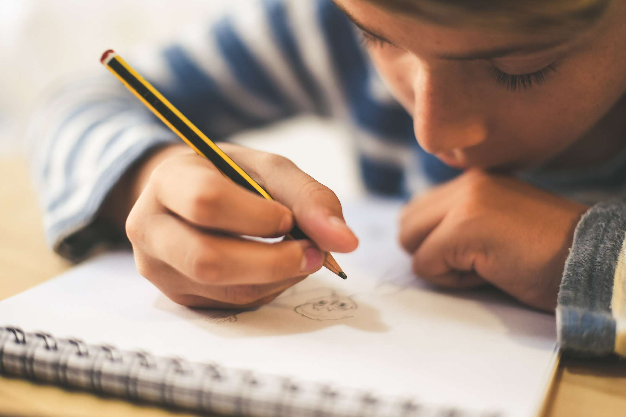 Boy drawing in a sketch book