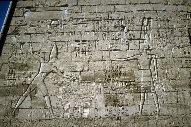 Relief of Rameses III smiting enemies, Mortuary Temple of Rameses III, Medinat Habu, c1200BC.