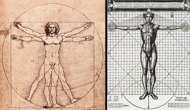Vitruvian Man drawing by Leonardo Da Vinci (left) and Cesare Cesariano (right)