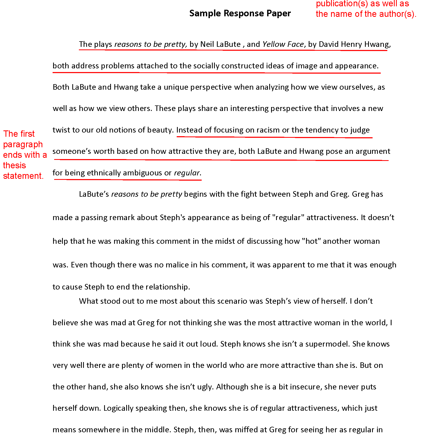 how to write a response paper sample response st draft