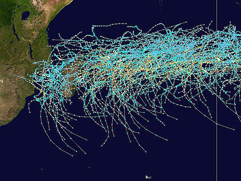 tracks of southwest Indian tropical cyclones 1980-2005